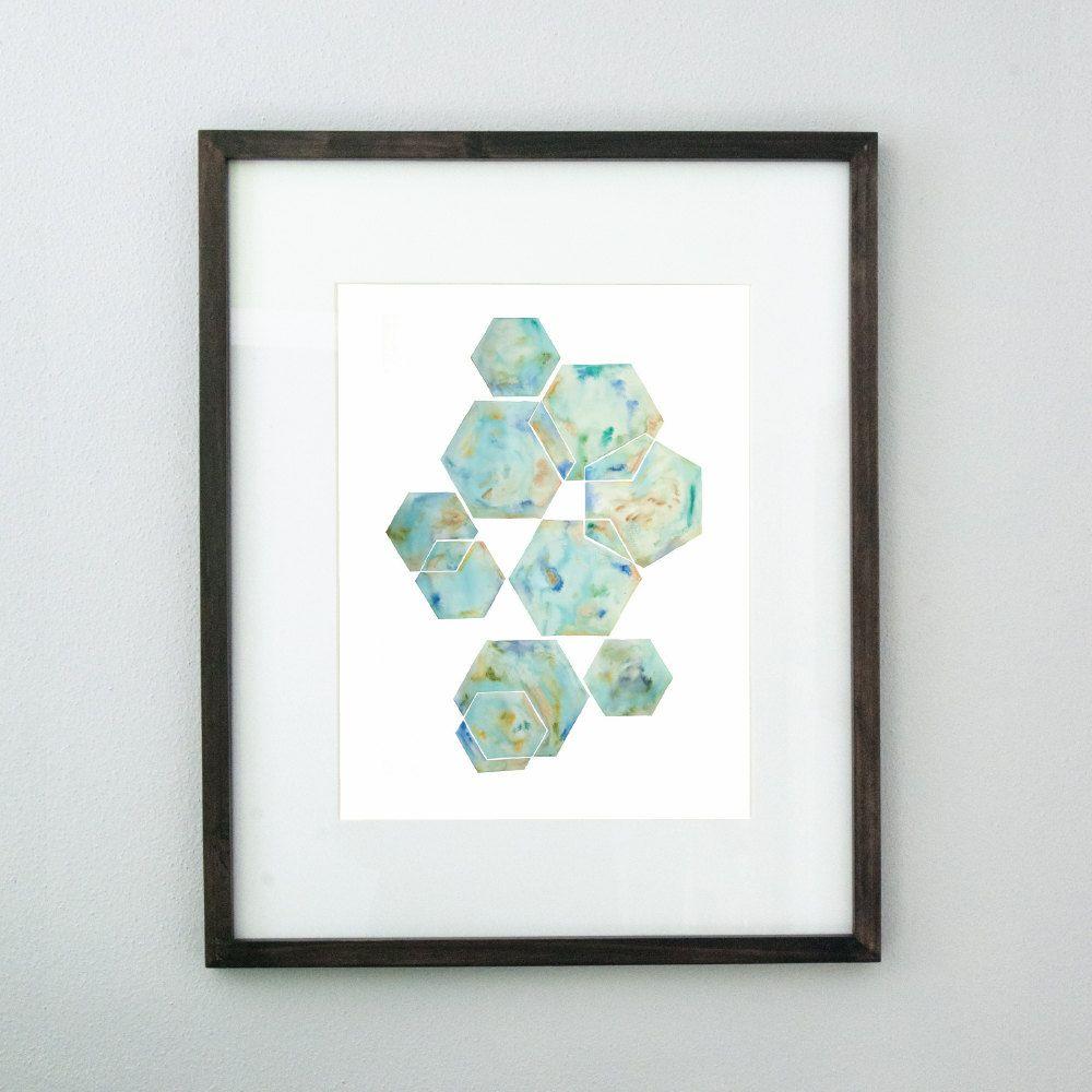 Hexagons 25x40 Original Watercolor Painting Minimalist Geometric