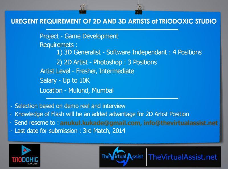 Triodoxic digital studios job vacancy of 2d and 3d