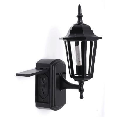 Hampton Bay Coach Style Reversible Exterior Wall Lantern With Built In Electrical Outlet G Outdoor Post Lights Exterior House Lights Black Outdoor Wall Lights