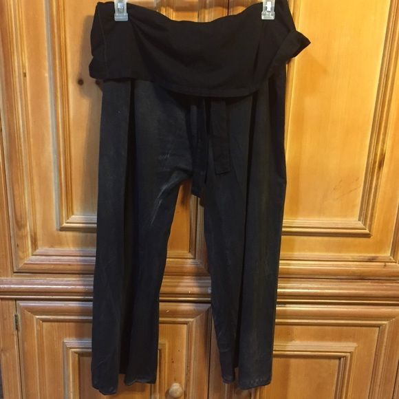 """Plus size belted fold over pant. NWOT Plus size belted fold over pant from Earthbound Trading. NWOT, never worn. These pants are 54"""" around the waist and have a belt of the same material that you tie, then fold the extra material over the belt. They have a 28"""" inseam, but may be longer on you because of being loose. Could be worn by a woman or a man. Earthbound Trading Pants"""