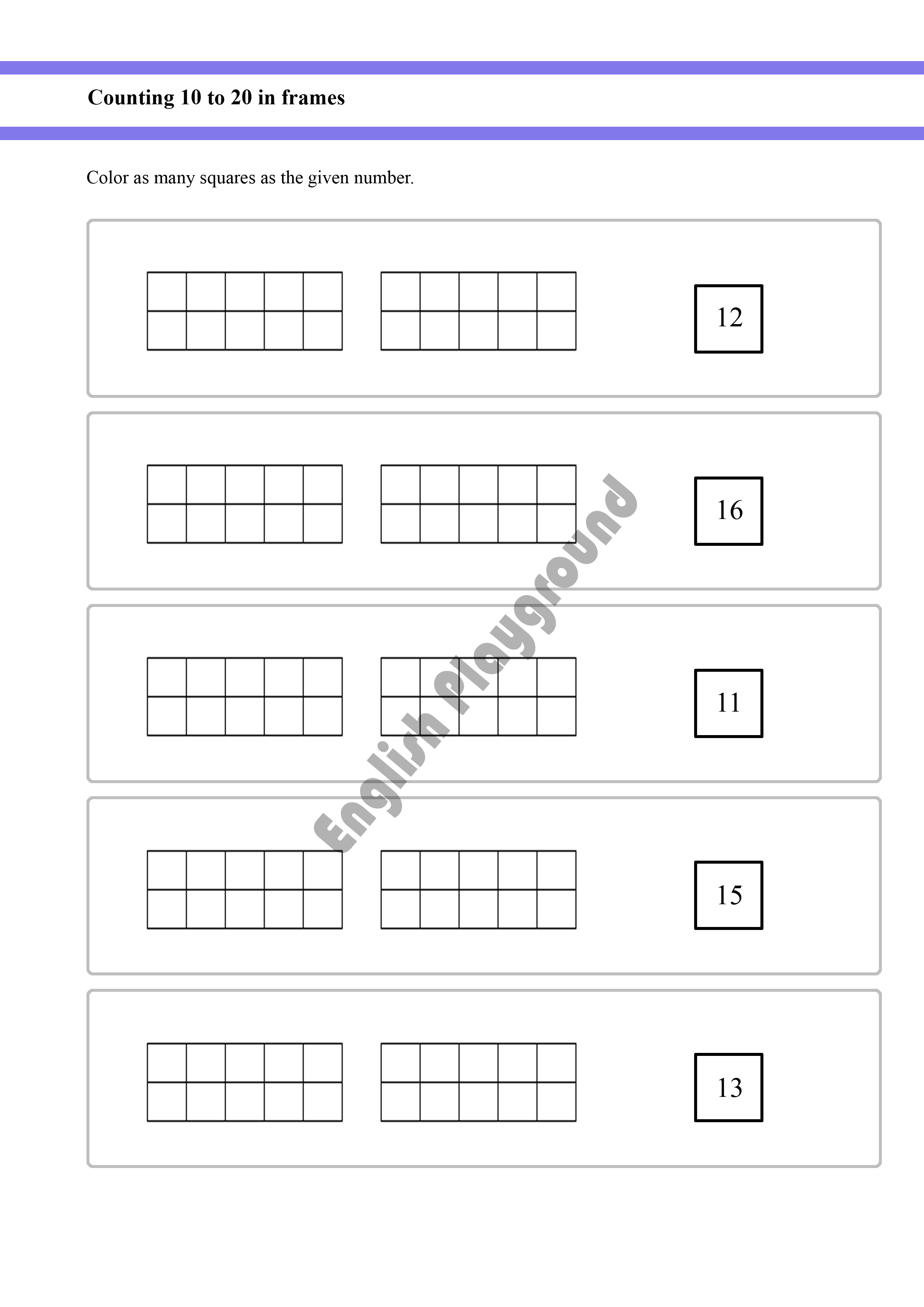 Counting Up To 20 Using Frames For Year 1 And Year 2