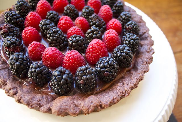 Chocolate Tart with Nutella, Raspberry Curd & Berries