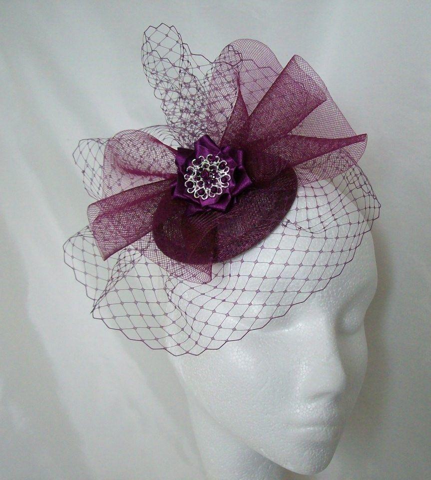 Amethyst Elizabeth Veil Crinoline Fascinator Hat Order Now From Www Indigodaisyweddings Co Uk Special Fascinator Wedding Hair Accessories Floral Accessories