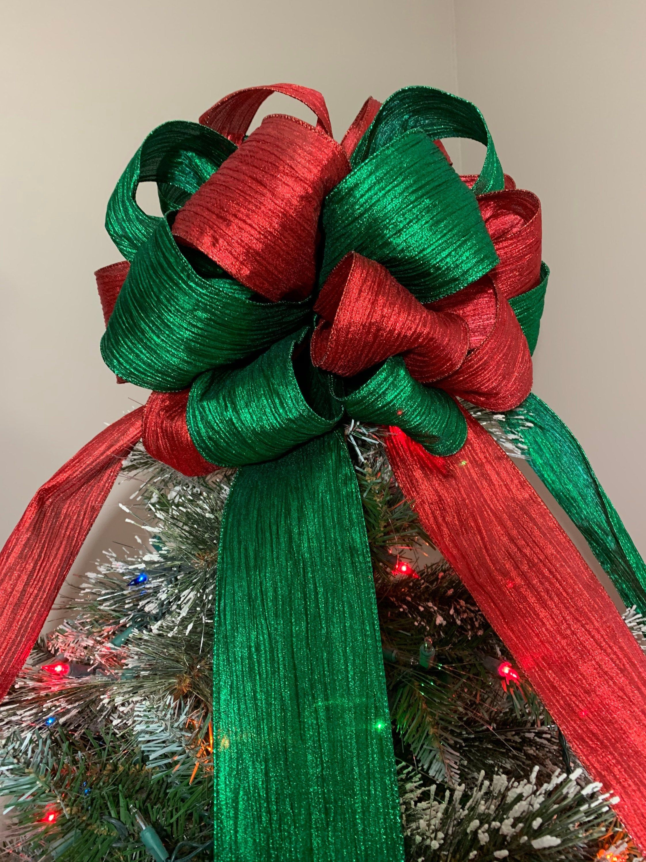 Large Red And Green Christmas Tree Topper Bow Christmas Tree Topper Bow Tree Topper Bow Green Christmas Tree
