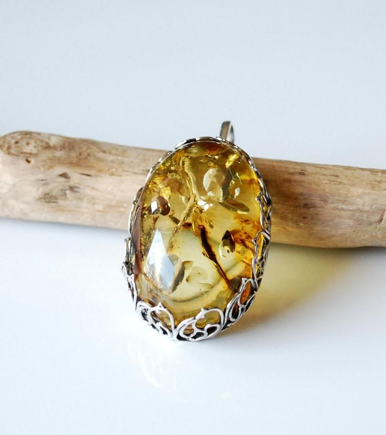 Green Amber Pendant Amber Jewelry Gold Silver Jewelry