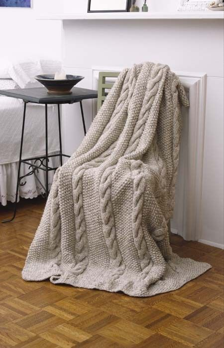 Natural Cables Throw (Knit) | Knitting Patterns + Instructions ...
