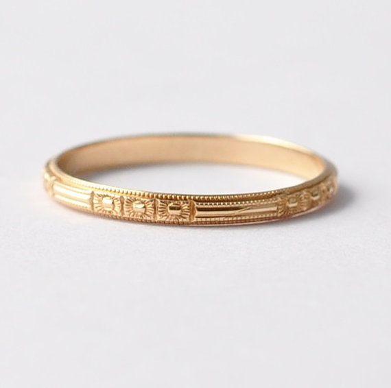 14k Yellow Gold Art Deco Wedding Band Antique Unique Simple Rings For Women Size 5 5 Art Deco Wedding Band Deco Jewelry Art Deco Jewelry