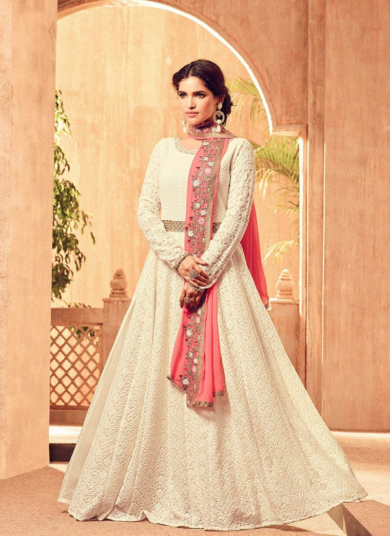 Most atrractive white colored indowestern suit salwar suit