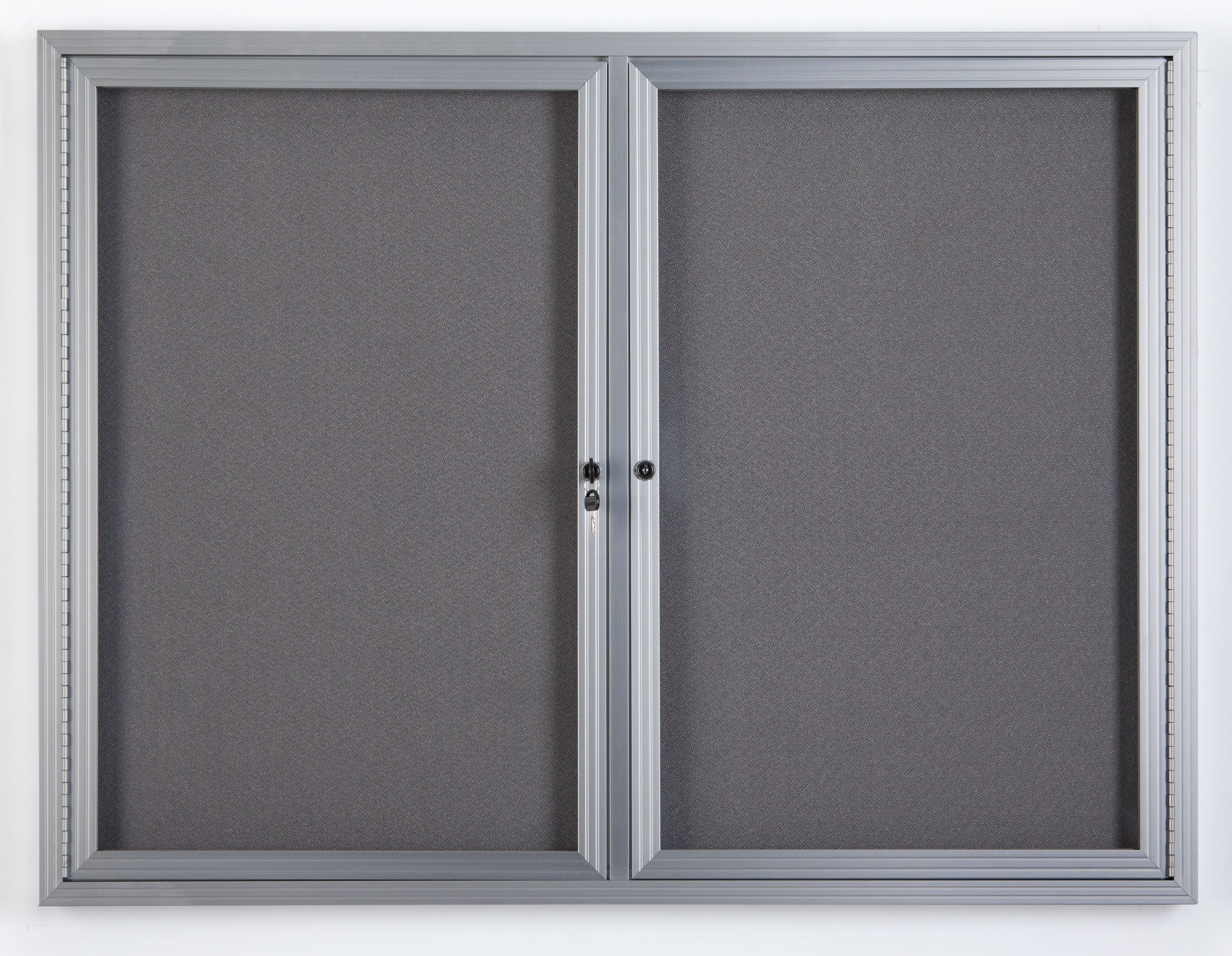 Surface Color Silver 2 Door Outdoor Enclosed Bulletin Board Size Frame Finish 3 H x 4 W Satin