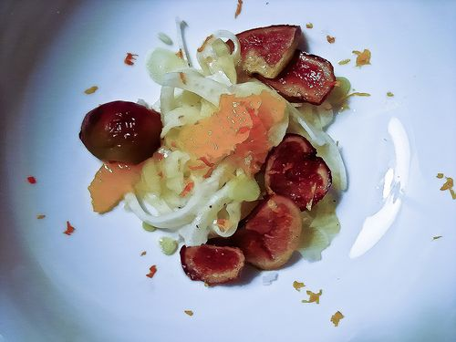 vegan citrus-fennel salad with balsamic grilled figs and walnut chutney