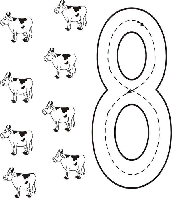 Learn Number 8 With Eight Cows Coloring Page : Bulk Color ...