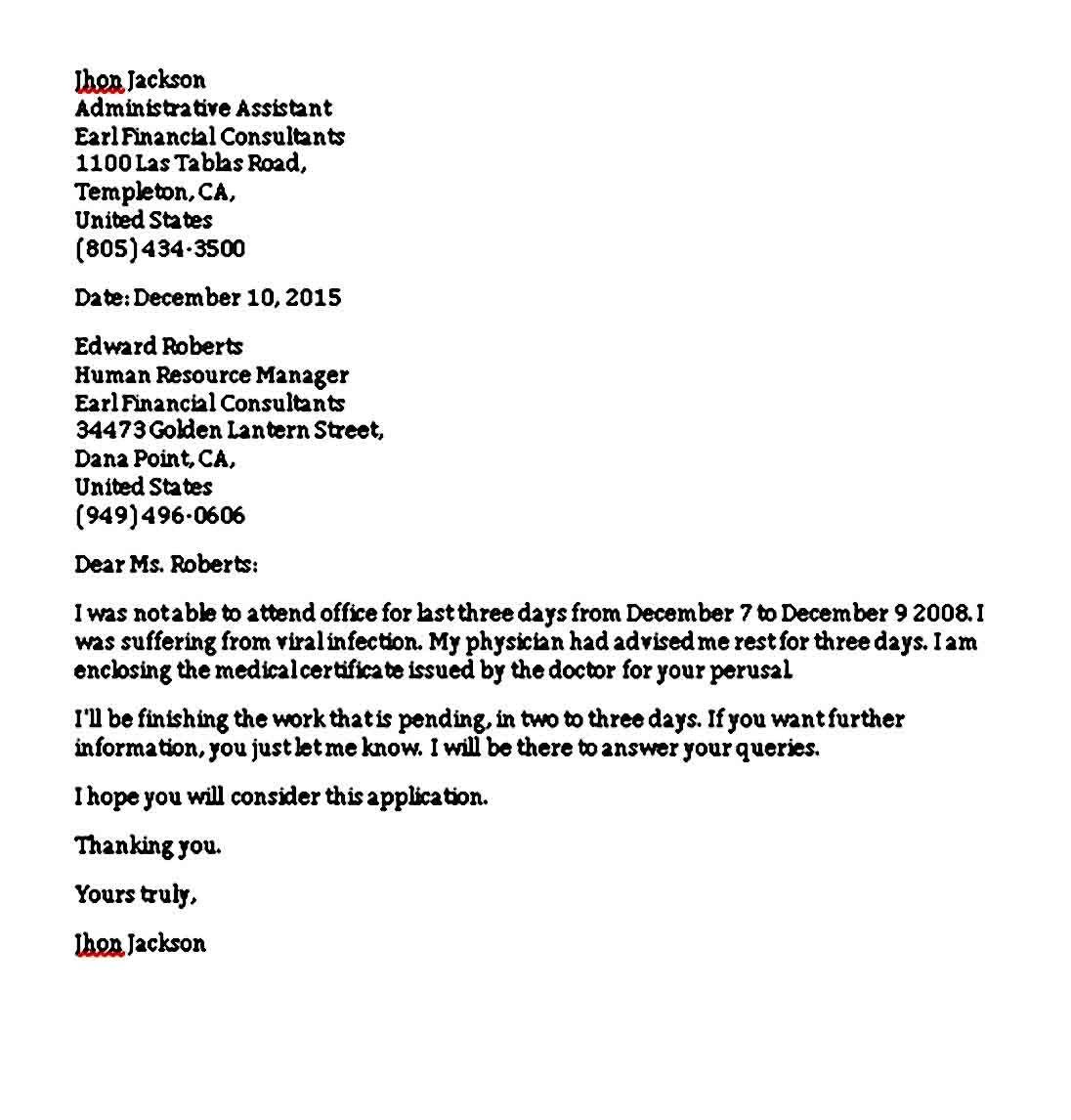 Formal Excuse Letter Business Letter Format Lettering Business