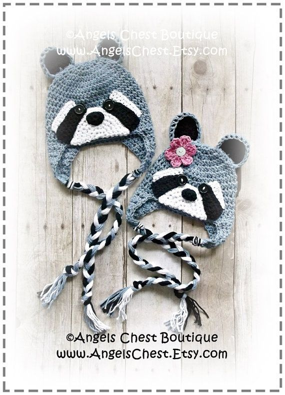 Crochet Raccoon Beanie Earflap hat PROP by AngelsChestDesigns ...