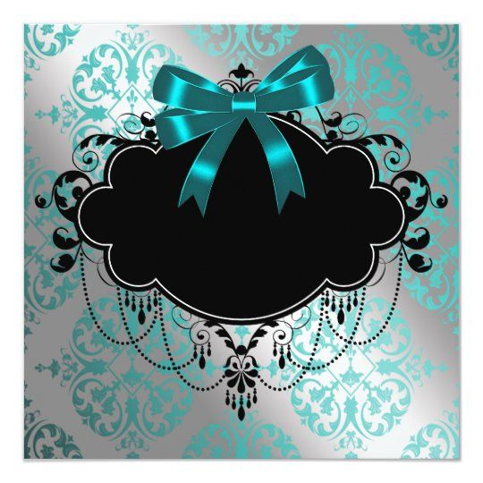 Silver and Teal Blue Princess Baby Girl Shower Invitation