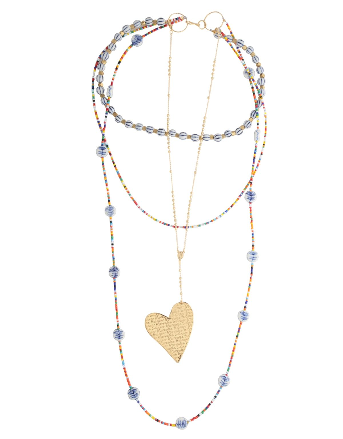 Collar Arco Iris y Flores Azules