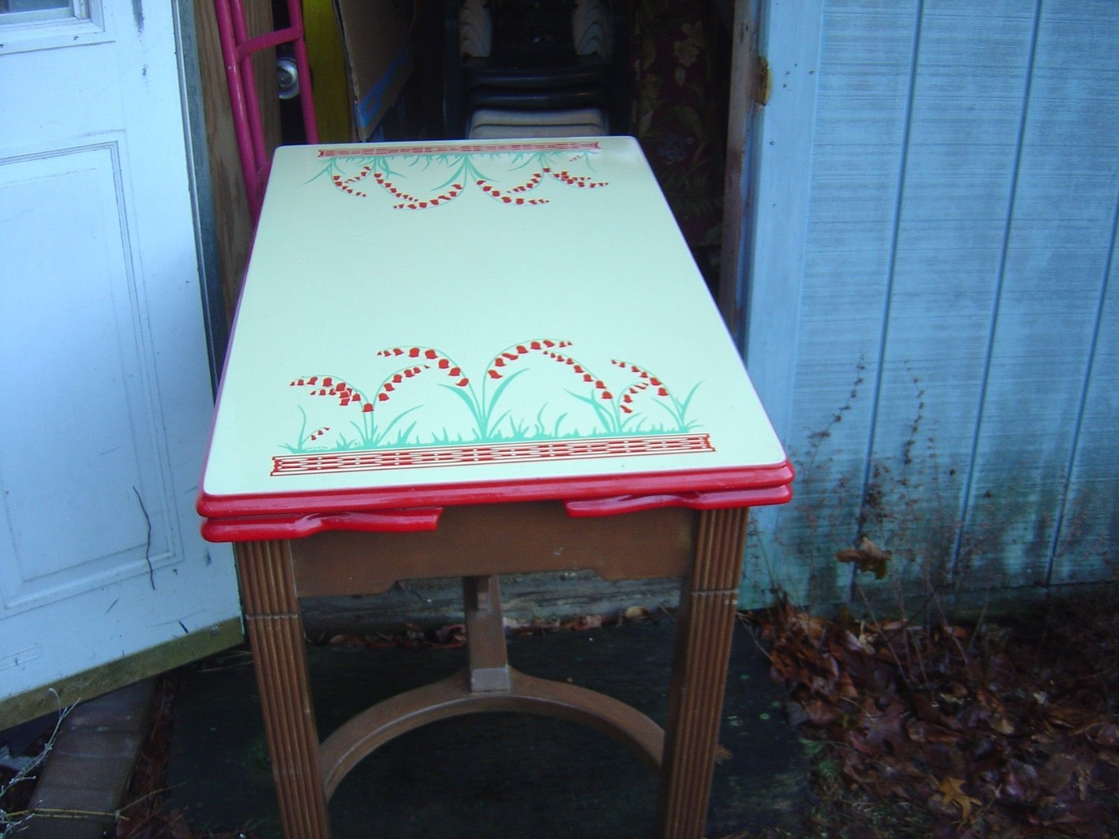 Vintage enamel table - antique enamel kitchen table with 4 chairs ...