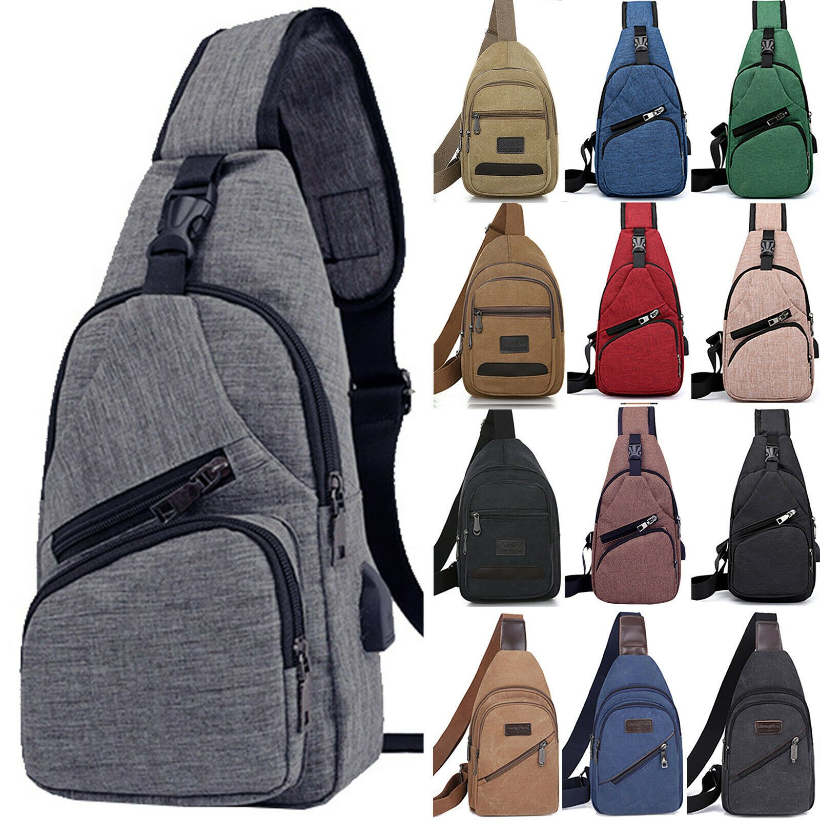 Men Women Canvas Crossbody Shoulder Chest Cycle Sling Bag Daily Travel Backpack