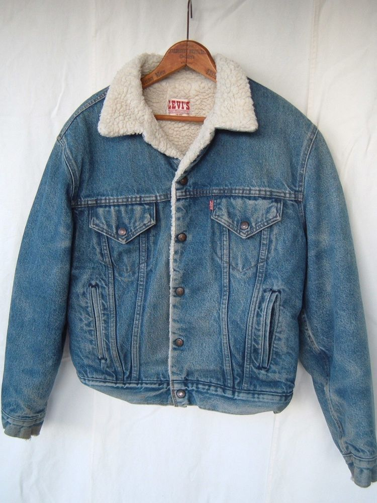 Vintage Levis Red Tab Sherpa Shearling Denim Trucker Jean