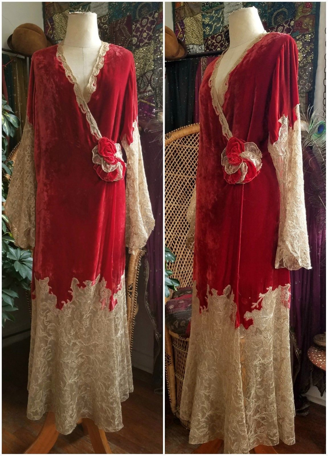 Rare 1920s Silk Velvet and Tambour Lace Dressing Gown Robe Peignoir ...