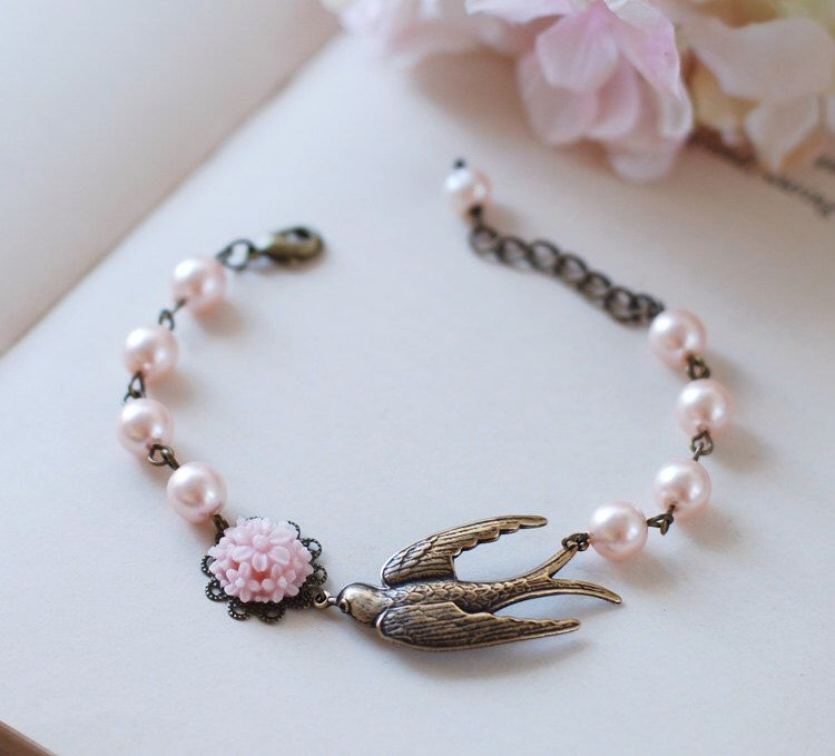 Brass Swallow Bird Bracelet. Pink Swarovski Pearls Brass Sparrow Bird Bracelet,  Wedding Bracelet, Bridal Jewelry, Gift for Her by LeChaim on Etsy https://www.etsy.com/listing/126076498/brass-swallow-bird-bracelet-pink