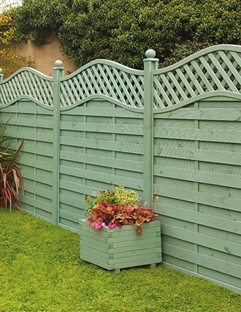 St melior fence panel painted in sage green garden love Garden wall color ideas
