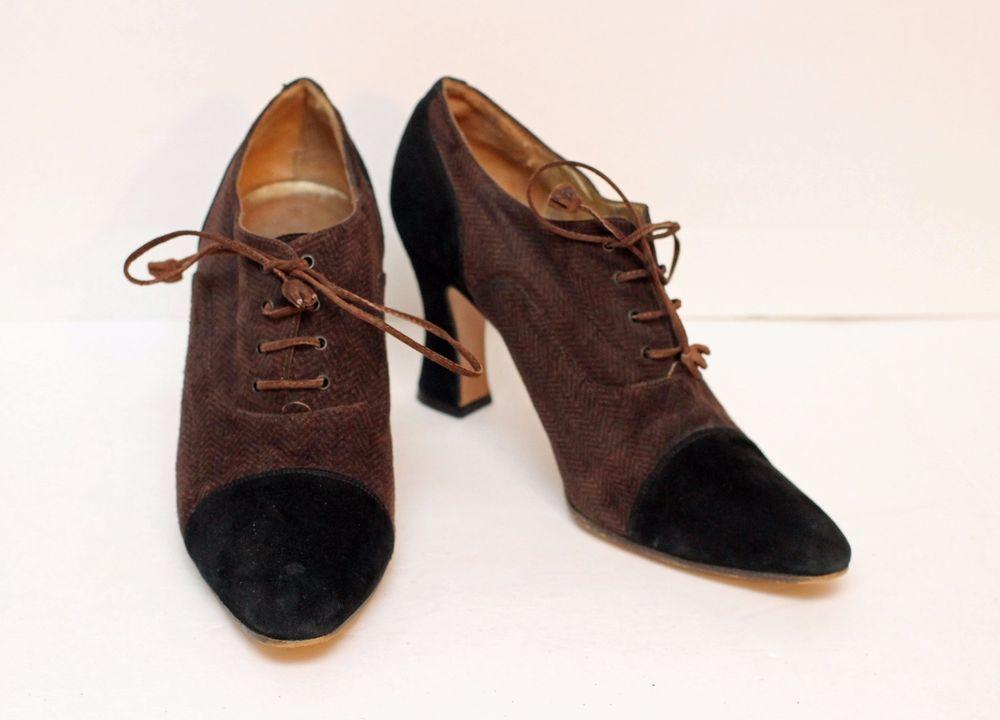 7c50afebdb9 Saks Fifth Avenue Black Brown Spectator Suede Heels Pumps Oxfords Shoes Sz  8.5