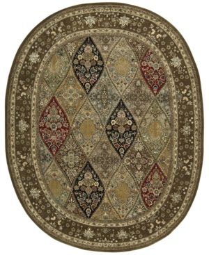 "Nourison Wool & Silk 2000 2292 Multicolor 7'6"" x 9'6"" Oval Rug"