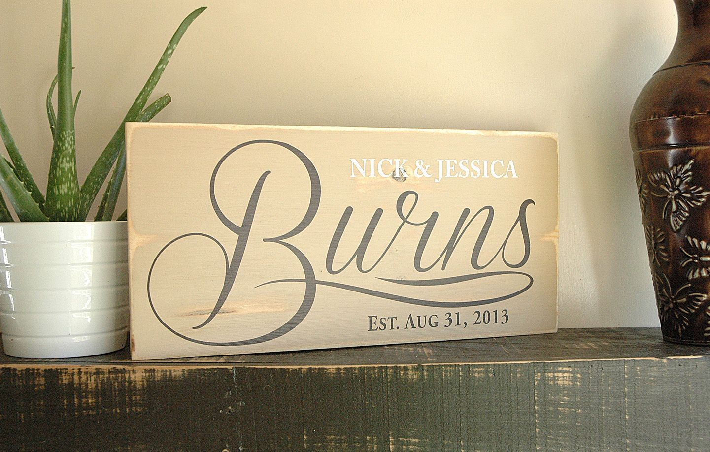 Handmade family name est signs with first names, last name and est ...