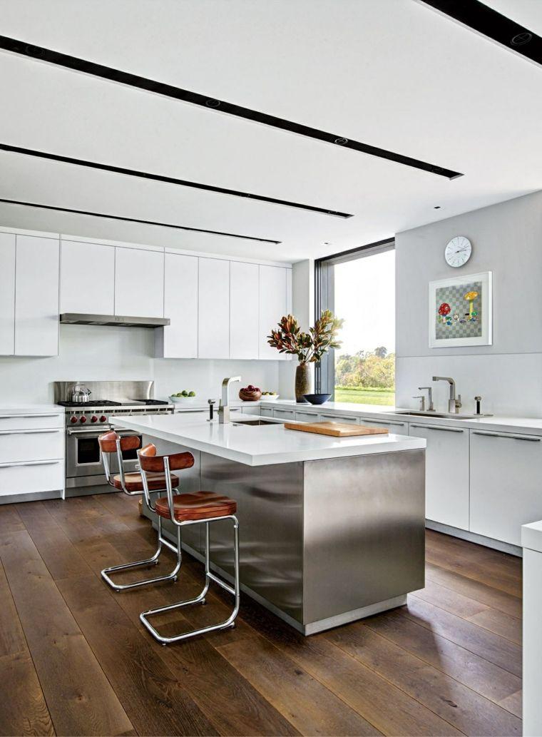 decoracion de cocinas americanas armarios blancos isla acero ideas ...