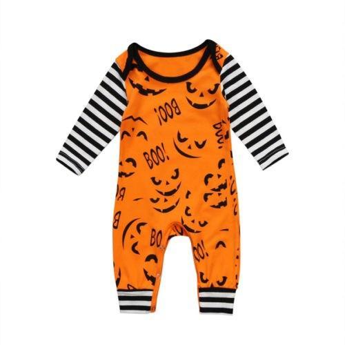 Newborn Boys Girls My 1st Halloween Pumpkin Hooded Romper Jumpsuit One-Piece Stripe Onesies