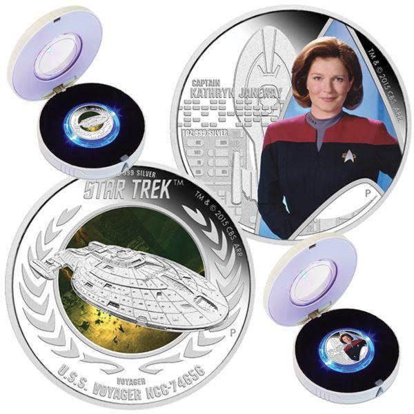 TUVALU 2015  2 x 1 $ Dollar - Star Trek - Set (4.) - Voyager + Captain Janeway - 2 x 1 Oz. Silver Proof Coin in Color - in Single Boxes. TUVALU 2015  2 x 1 $ Dollar - Star Trek - Satz (4.) - Voyager + Captain Janeway - 2 x 1 Oz. Silber Farbe in Polierter Platte - Lieferung in Einzelboxen.