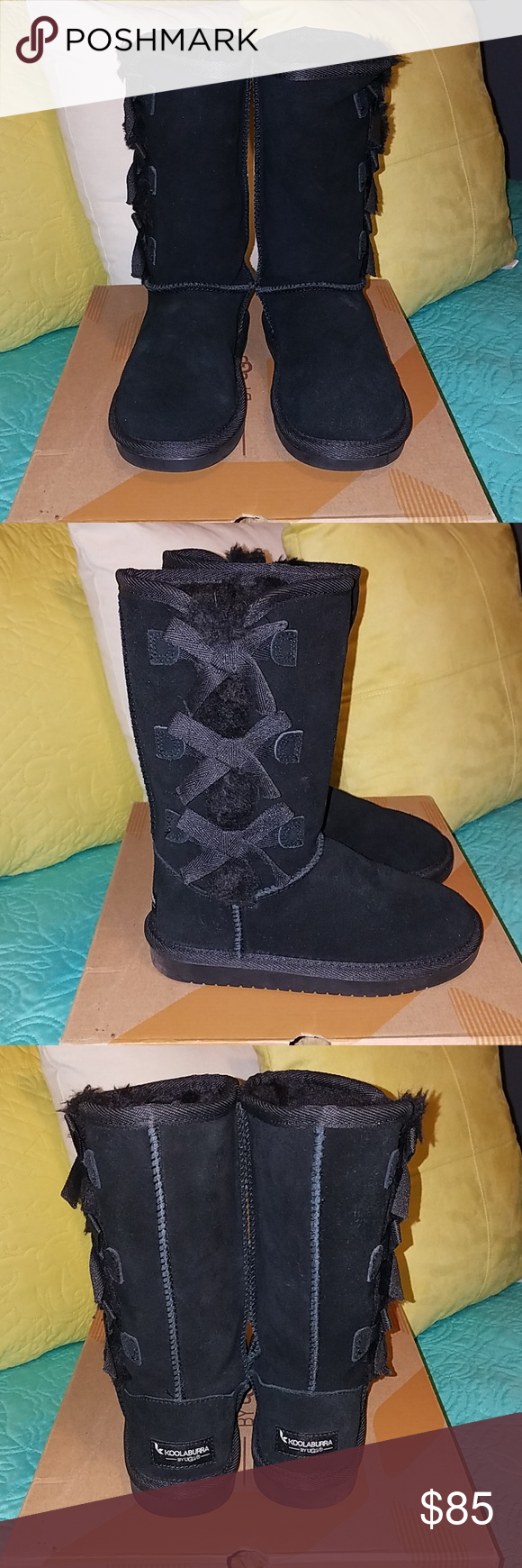Black UGG boots Girls black UGG boits size 13. NWB cute bow detail on the side of the boots! UGG Shoes #uggbootsoutfitblackgirl