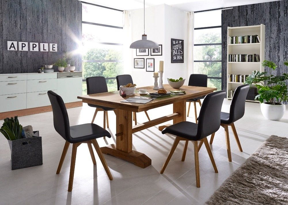 Essgruppe Karla Esstisch Wildeiche Massivholz mit 6 Lederstühlen - esstische aus massivholz ideen