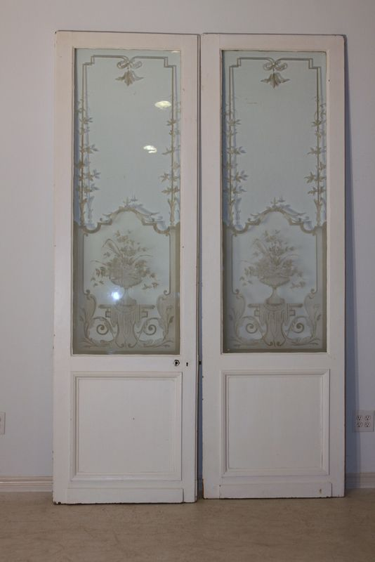 Antique etched doors. I think I would paint the actual door instead of  leaving it the cream color. - REDUCED Antique French Architectural Doors Etched Glass Lovely
