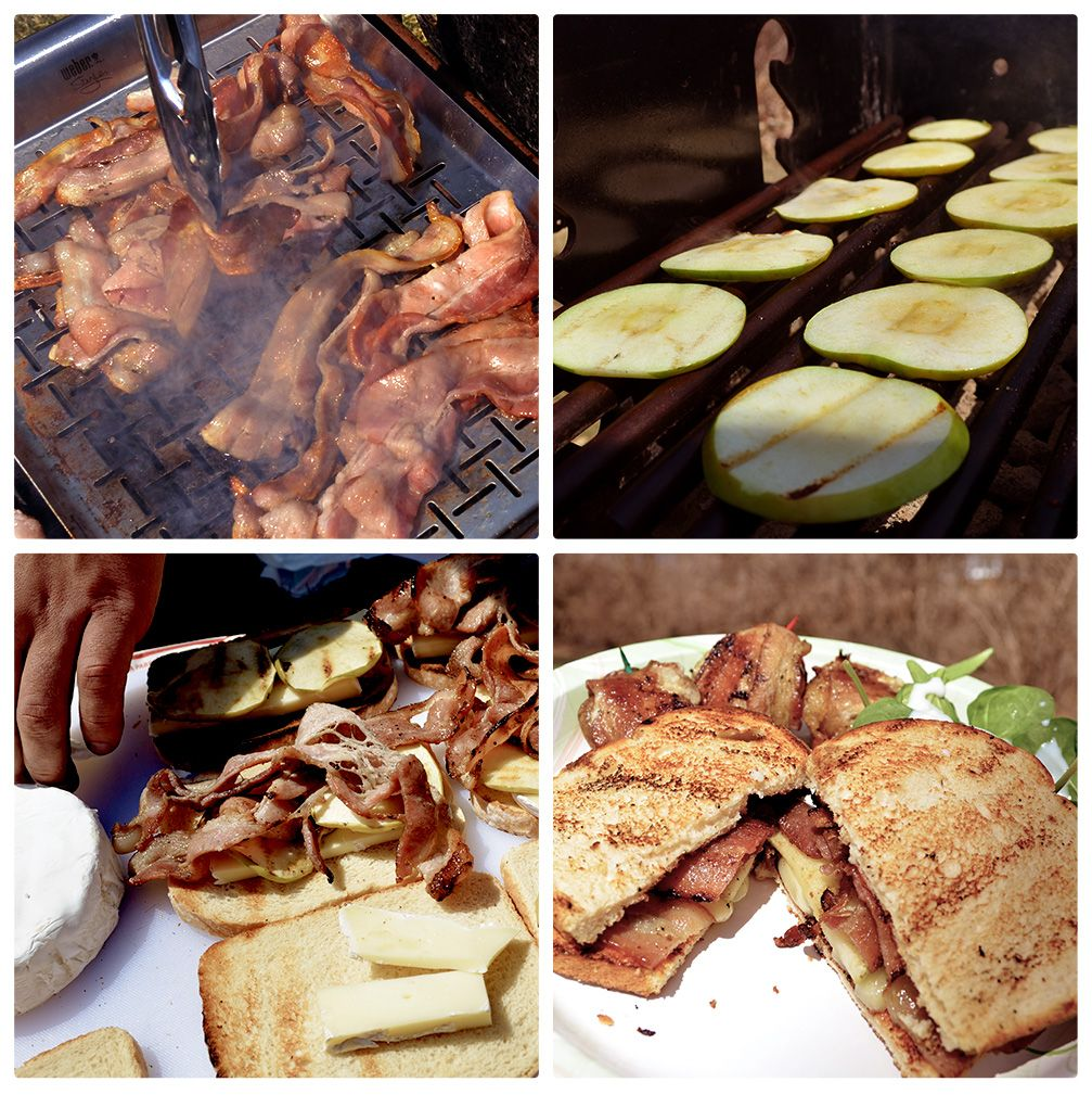 Apple Bacon Brie Sourdough Sandwiches  2 lbs Applewood Smoked Bacon  ¾ lbs Brie  2 Granny Smith Apples (Sliced) 1 Loaf Country Sourdough Bread  Grill Bacon to Taste and remove. Then start grilling Apple Slices. Now begin to toast bread slices then remove from grill. Cut Brie into slices. Remove Apple slices from grill. On the toasted side of the bread layer on the Brie, Apple Slices, and Bacon. Place Sandwich on grill for 2 min, a side (or until melty toasty goodness).