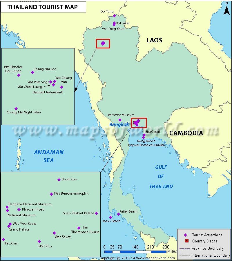 Thailand Travel Destinations on a MAP Maps Pinterest Thailand