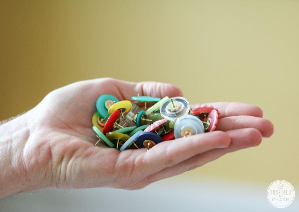DIY Button Thumb Tacks | Inspired by Charm...really cute idea!