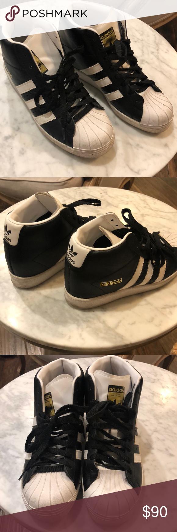 Adidas superstar high top sneaker black white Adidas