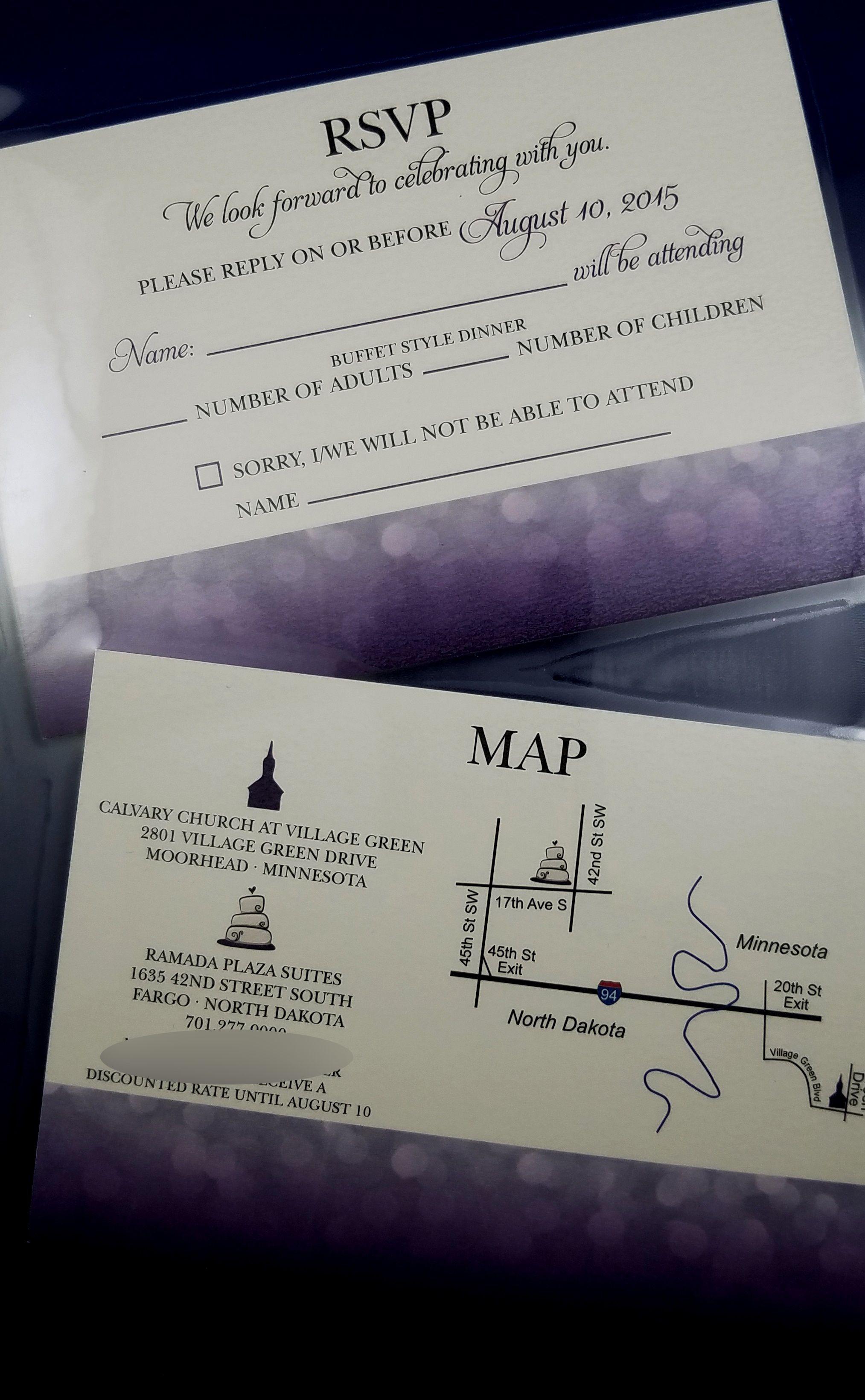 Purple Rsvp with map Wedding rsvp, Rsvp, Buffet style dinner