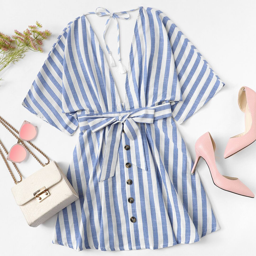 0026f3794fe3 #SHEIN Deep V Neck Button Front Striped Dress 2018 Summer Blue Striped Half  Sleeve Dress