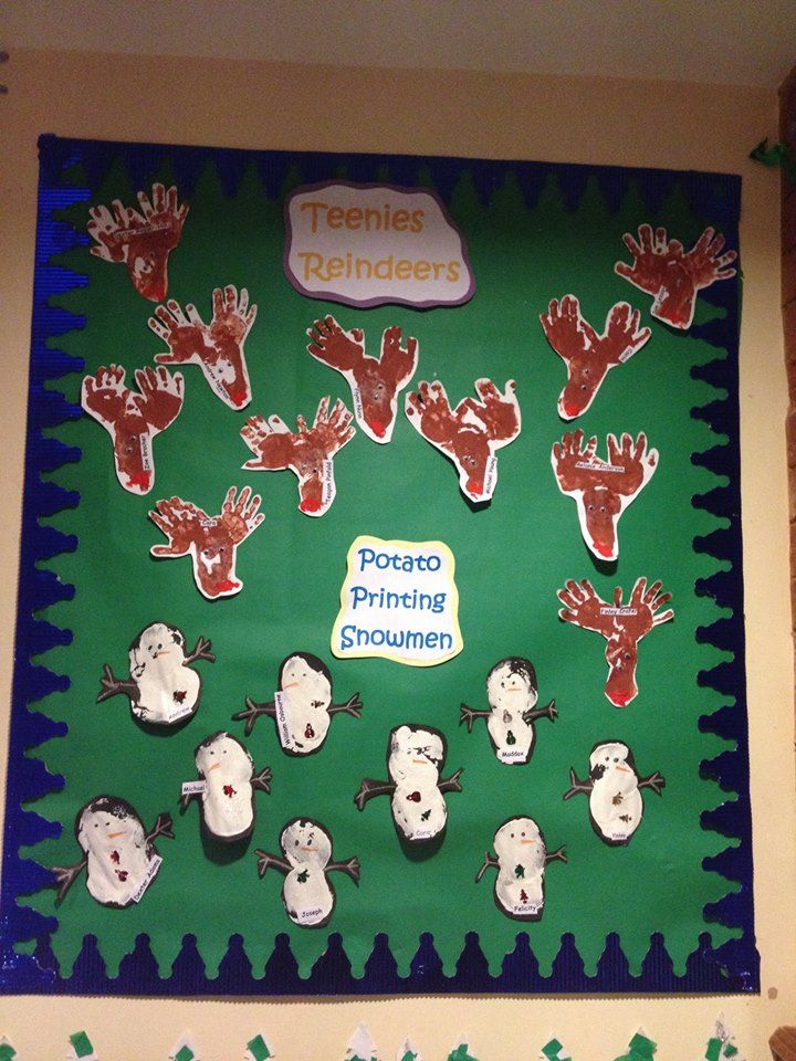 Teenies Christmas Displays Hand And Footprint Reindeer And Potato Printed Snowm Preschool Christmas Activities Christmas Nursery Crafts Christmas Activities