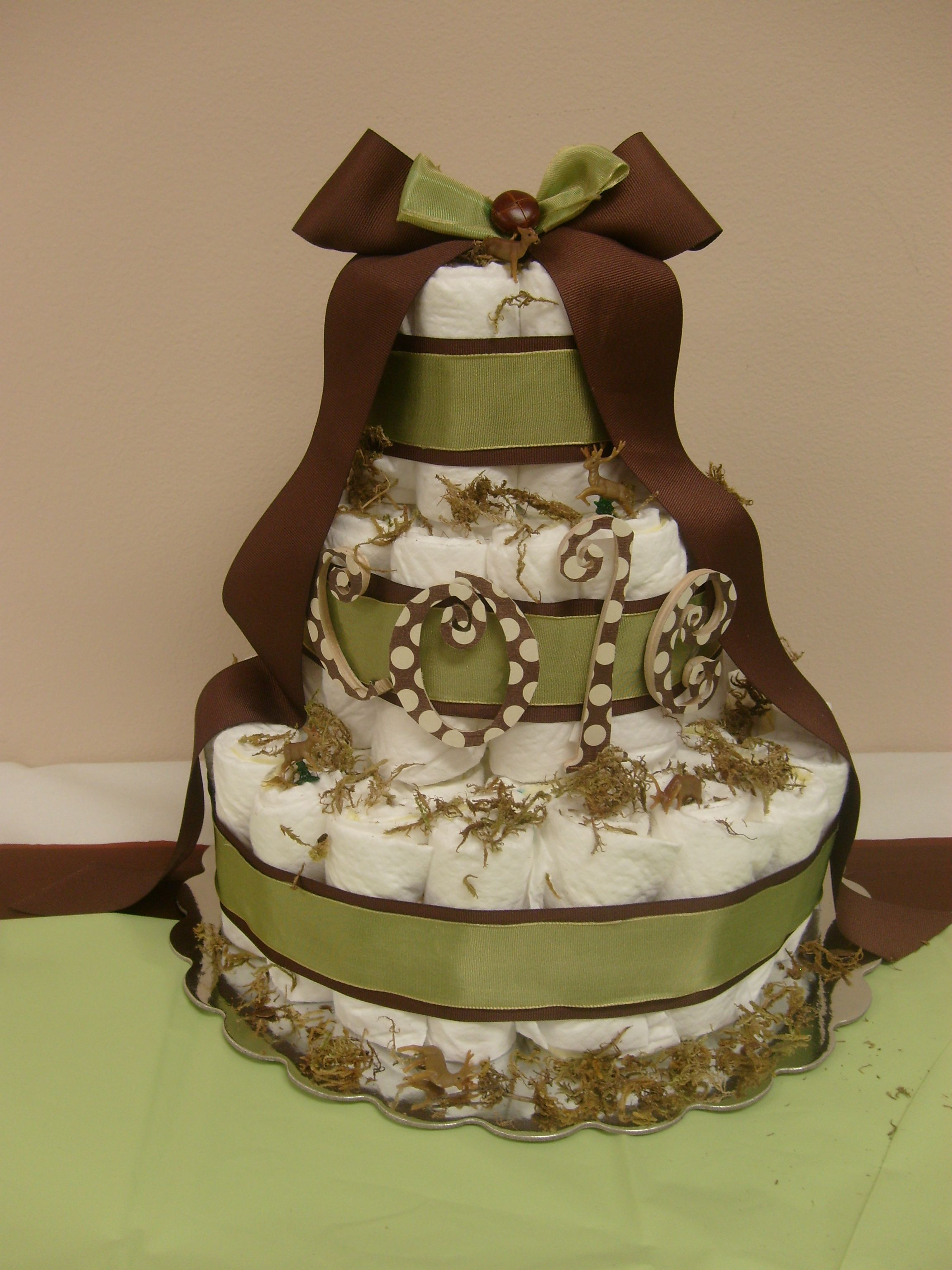 Baby Willow inspired diaper cake Green brown with moss and deer