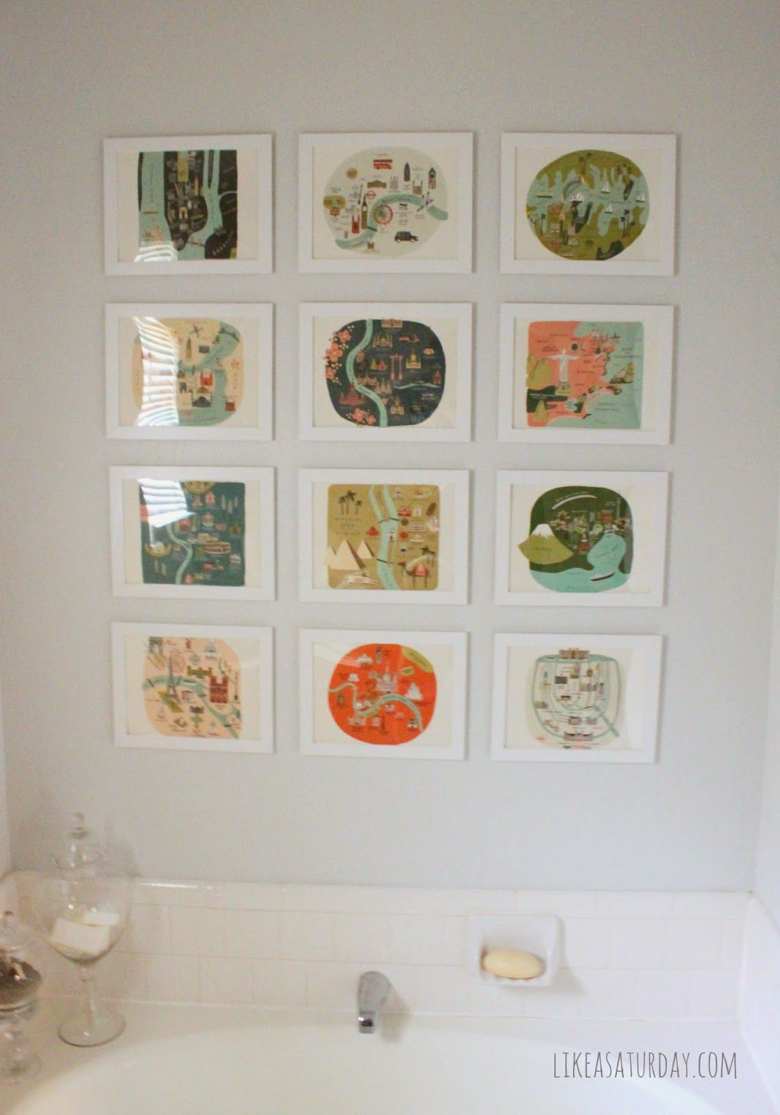 Bathroom art gallery frames and design and layout pinterest