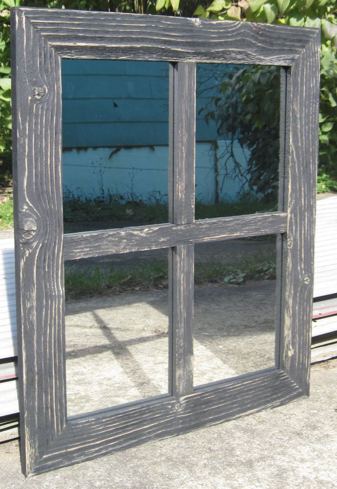 Reclaimed Barn Wood 4 Pane Window Mirror Rustic Style Wall Hanging Mirror 21x25 Rustic Reclaimed Barn Wood Barn Wood Frames Hanging Wall Mirror
