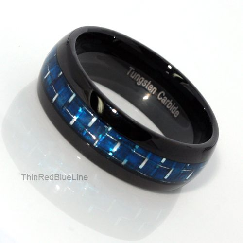 30 Black Tungsten Carbide With Blue Fiber Inlay 6MM Thin Line Collection Red