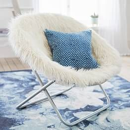 Himalayan Blush Faux Fur Hang A Round Chair Pbteen