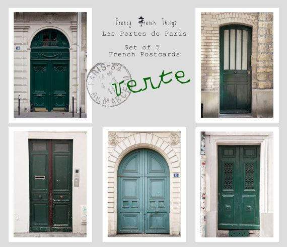 "Postcard SetParis Doors in Green set of 5 by PrettyFrenchThings, $8.00 These make great gift tags! I especially love them for wedding gifts, with the message, ""As you start your new home together...."" What a bargain! Wedding cards are usually about $4 each!"