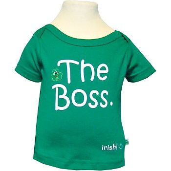 The boss in your life will look the part in this emerald green Irish t-shirt with our famous smiling shamrock.100% soft cotton.