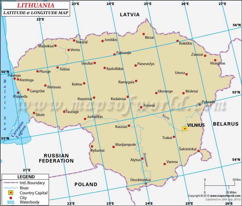 Lithuania latitude and longitude map latitude longitude maps latitude and longitude of lithuania is 56 degrees n and 24 degrees e find lithuania latitude and longitude map showing comprehensive details including sciox Choice Image