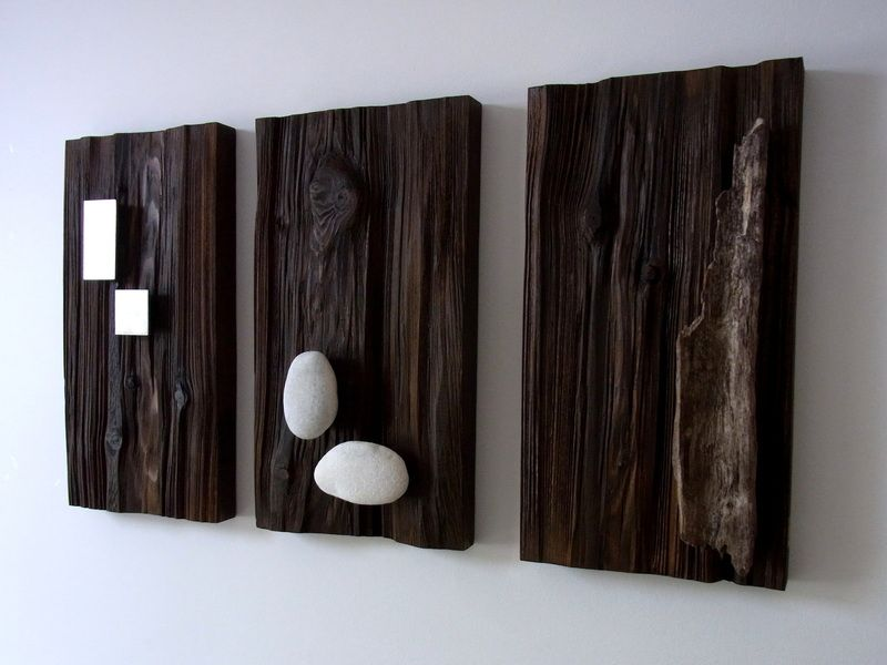 wand deko holzbilder mit aufgesetztem eisen holz stein. Black Bedroom Furniture Sets. Home Design Ideas